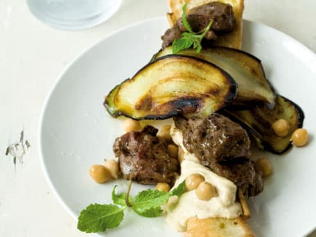 Greek Lamb Kebob, Grilled Eggplant and Hummus on Crusty Bread Sticks