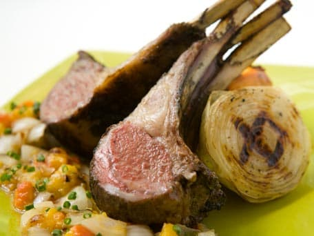 Dijon Mustard Rack of Lamb with Grilled Peach and Mustard Relish