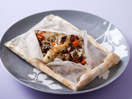 Winter Roots Pilaf in Parchment with Basmati Rice, Pine Nuts and Dried ...