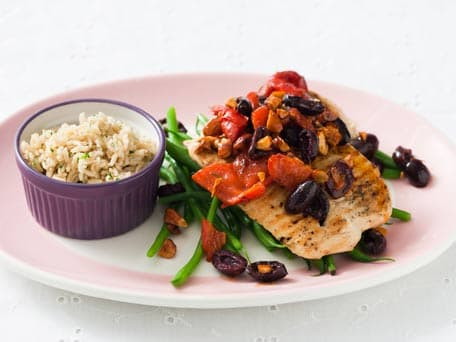 Grilled Turkey Cutlets with Olives and Almonds