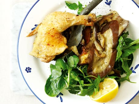 Hot Fast-Roast Chicken and Eggplant on Greens