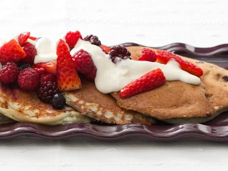 Very Berry Pancakes with Mixed Berries and Maple-Yogurt Topping