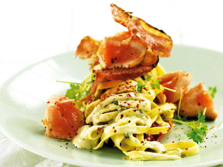Salmon and Prosciutto Tossed in Lemon-Creamed Tagliatelle