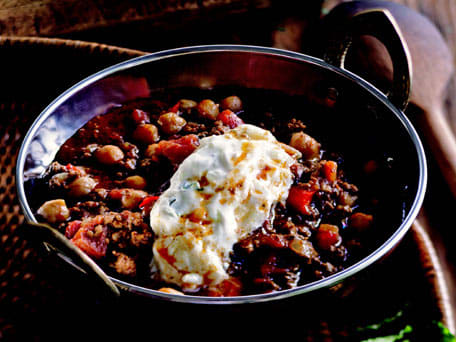 Lamb Chili with Chickpeas and Raita