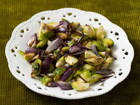 Roasted Brussels Sprout and Rosemary Red Onions