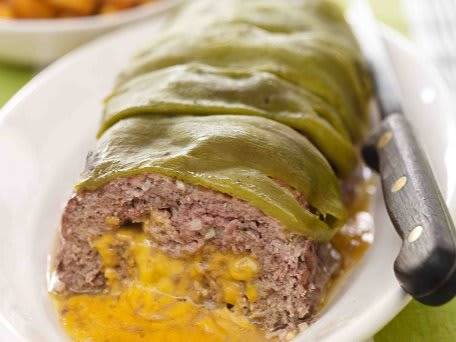 Green Chile-Cheese Meatloaf with Butternut Squash