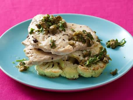 Roasted Cauliflower and Chicken Paillard with Caper Vinaigrette