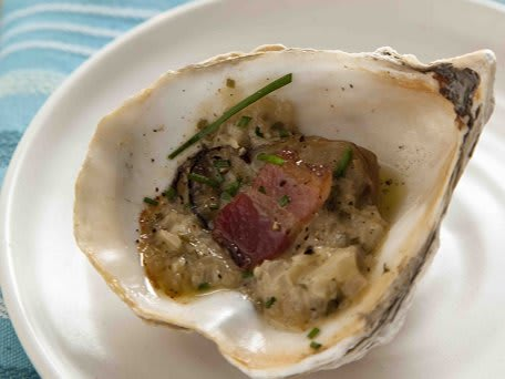 Roasted Oysters with Shallots, Bacon & Chives