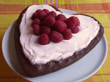 Fudgy Brownie Heart Cake with Pink Whipped Cream