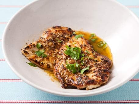 Coriander Chicken Cutlets with Cilantro Lemon Sauce
