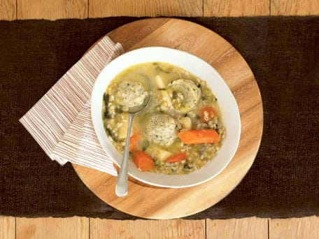 Chunky Root Vegetable and Barley Broth with Herbed Dumplings