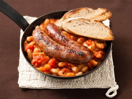 White Beans & Orange-Glazed Sausages