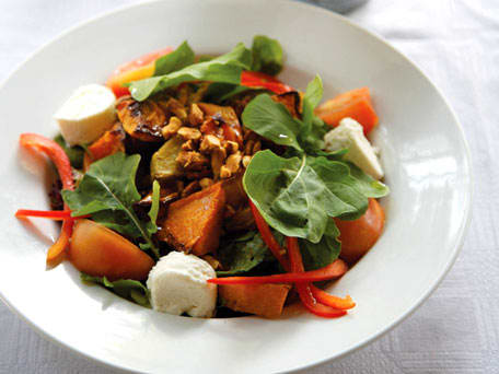 Nutty Sweet Potato, Butternut, Arugula and Goat Cheese Salad