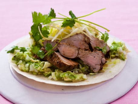 Soft Tacos with Pork, Cabbage Slaw and Avocado Mash