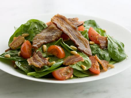 Salad of Baby Spinach, Crispy Bacon and Cherry Tomatoes