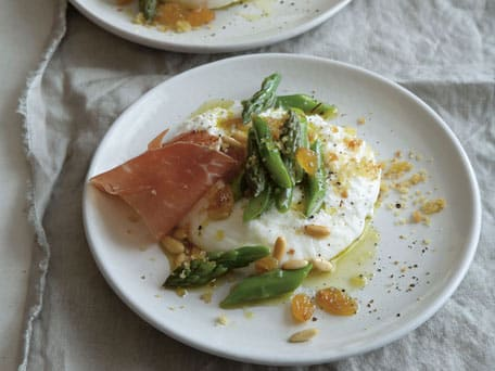 Burrata with Asparagus, Pine Nuts, and Golden Raisins