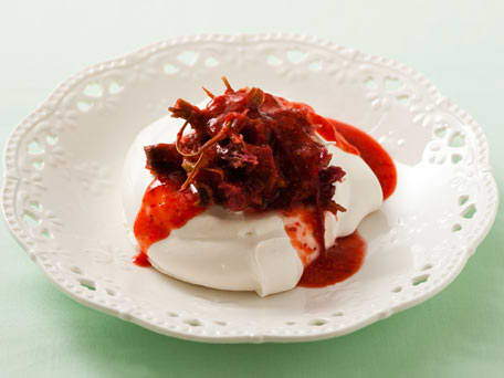 Meringue Nests with Roasted Rhubarb and Strawberry Sauce