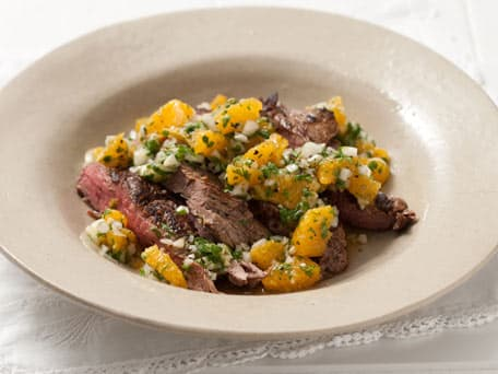 Skirt Steak with Orange Cilantro Salsa
