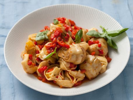 Roasted Red Pepper and Artichoke Cheese Tortelloni