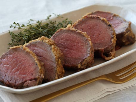 Beef Tenderloin with Horseradish Mustard and Herb Crumbs