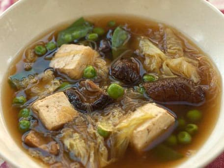 Tofu and Vegetable Soup with Cellophane Noodles