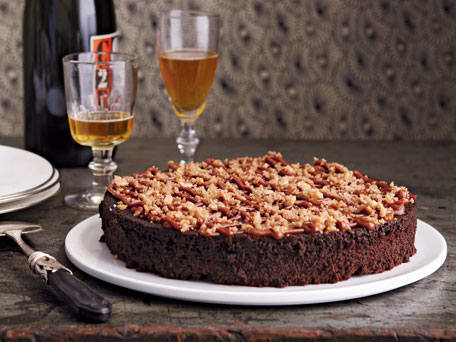 Rich Chocolate Cake with Salty Dulce de Leche & Hazelnut Brittle