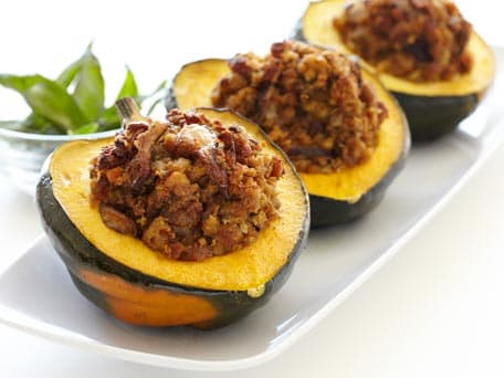 Stuffed Maple Acorn Squash with Sausage and Shiitakes