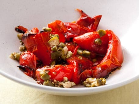 Sauteed Red Bell Peppers with Caper Sauce