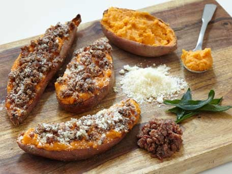 Twice-Baked Sweet Potatoes with a Bacon-Parmesan Crust