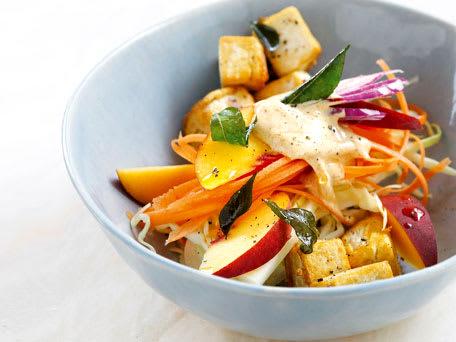Caribbean Peach Slaw Salad with Crispy Tofu
