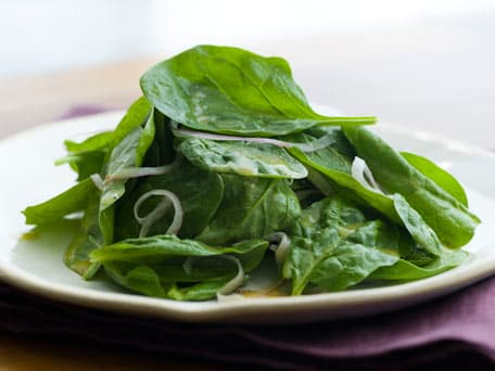Baby Spinach Salad with Red Onions and Honey-Mustard Dressing