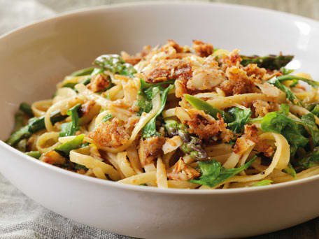 Asparagus Linguine with Almond Butter Crisp