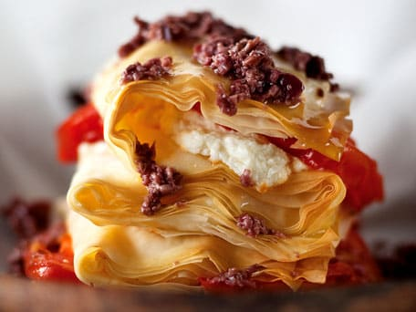 Goat Cheese Phyllo Stack with Crushed Olives