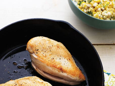 Pan-Roasted Chicken Breasts with Tarragon Creamed Corn