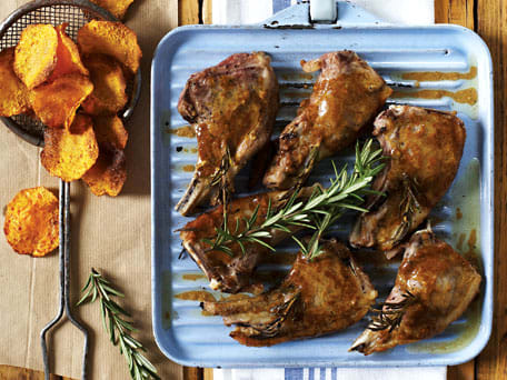 Roasted Rosemary Spiked Lamb Cutlets with Butternut Squash Chips