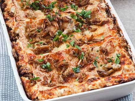 Lasagna with Mushrooms and Lamb Sausage