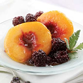 Lavender-Poached Peaches & Blackberries