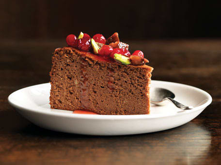 Chocolate Chestnut Cake with Confit Cranberries