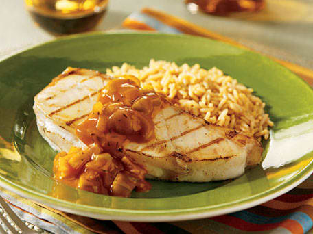Grilled Fish Steaks with Chunky Tomato Sauce