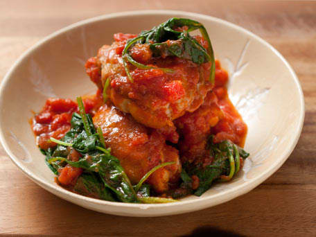 Chicken Thighs with Stewed Tomatoes and Spinach