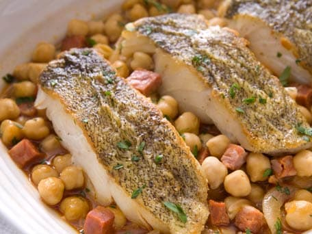Pan Roasted Cod with Chickpeas and Chorizo