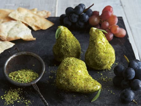 Fresh Goat Cheese Pears with Pistachio Dust