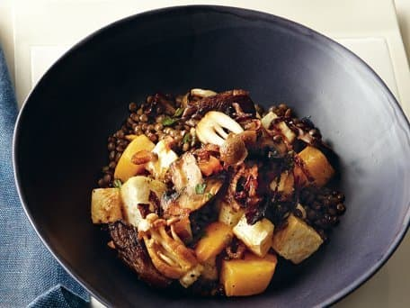 French Lentils with Roasted Roots, Caramelized Onions and Thyme