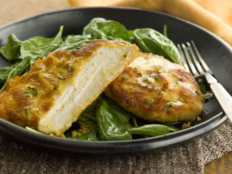 Chicken Cutlet with Aged Jack Cheese Crust and Spinach Salad