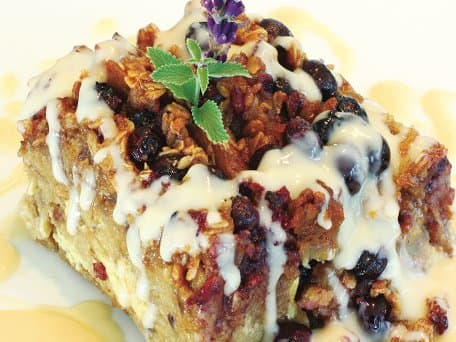 Blueberry Oatmeal Streusel French Toast with Warm Maple Rum Sauce