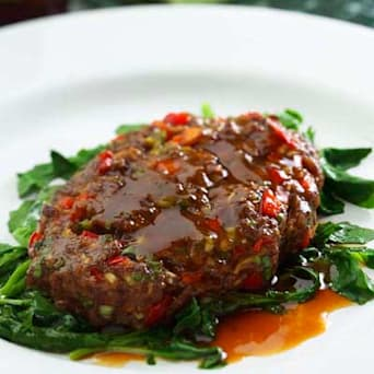 Image of Asian Salisbury Steaks With Sauteed Watercress, Kitchen Daily