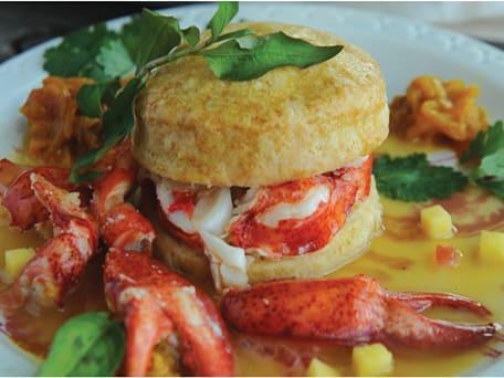 Lobster Shortcake with Rum Vanilla Sauce