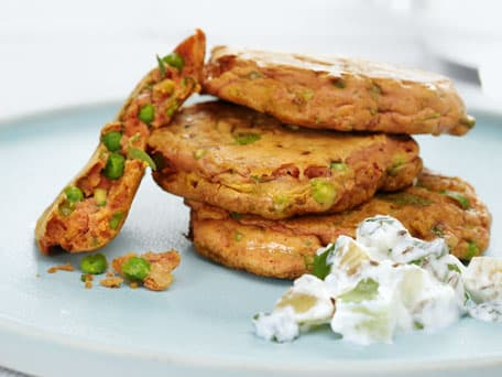 Spicy Pea Fritters with Cilantro and Potato Raita