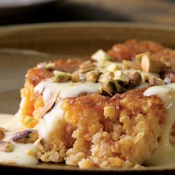 Image of Apricot-bulgur Pudding Cake With Custard Sauce, Kitchen Daily