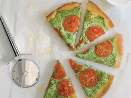 Arugula Pesto, Ricotta, and Smoked Mozzarella Pizza